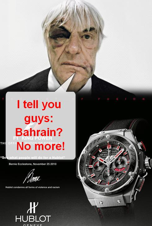 Bernie Ecclestone at the Bahrain Formula 1 Disaster